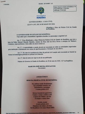Governador sanciona o Hino da Polícia Civil de Rondônia.