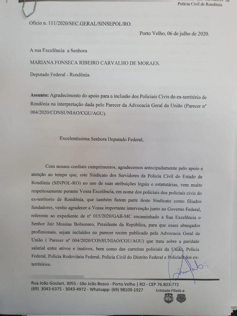 Sinsepol intercede por paridade e integralidade para os policiais dos ex-Territórios