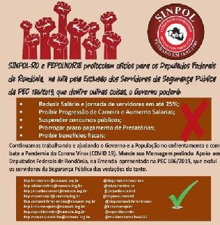 Airton pede a parlamentares para exlusão de policiais da PEC 186/2019
